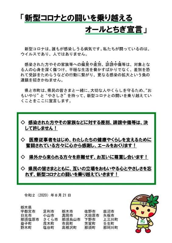 新型 栃木 コロナ ウイルス 県